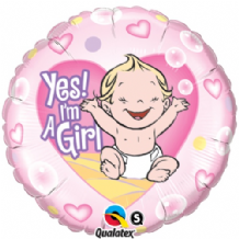 "Yes! I'm a Girl Foil Balloon (18"") 1pc"
